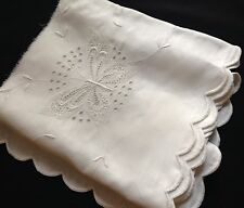 Antique Salvage Butterfly Pattern Padded Hand Embroider Buttonhole Stitch Hem