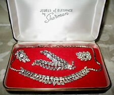 Sherman Jewels of Elegance - Signed Clear Ice Necklace, Brooch & Earrings Set
