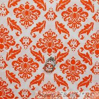 BonEful FABRIC FQ Cotton Quilt VTG White Orange Flower Leaf Damask Thanksgiving
