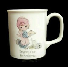 Precious Moments Christmas Mug White Ceramic Vintage 1985 Girl Pie Dog 3.5""