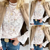 VONDA Women Casual Sexy Hollow Bell Sleeve Blouse Floral See Through Top Shirt