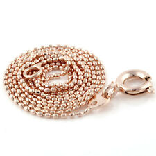 """17.3"""" Long Vintage Rose Gold Plated Womens 1mm Wide Ball Bead Necklace Chain"""