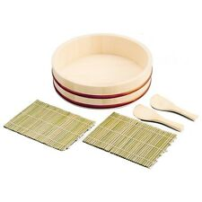 Japanese Wooden Sushi Oke Rice Tub 11in 5 pic Temaki SET from Japan