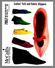 Vintage McCall's Ladies Felt & Fabric Slippers Material Sewing Pattern #7957