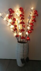 24 LED Orchideenzweige Rot (3 Zweigen) Weihnachtsbeleuchtung Topf & Vase 282137