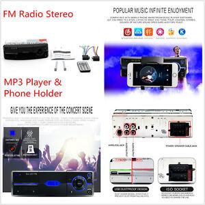 Car 1-DIN Bluetooth Handsfree Calling MP3 Player FM Radio Stereo & Phone Holder