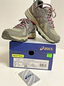 Asics Gel-Venture 6 Women Running Shoes Carbon Black Pink A660117 FY Size 6M Box
