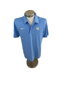 North Carolina Tar Heels Nike Dti Fit Mens Polo Shirt Blue Short Sleeve M New