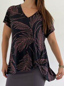 TAKING SHAPE Black Pink Leaf Print Twist Front Stretch Top Plus Size XS AU 14