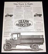 1919 OLD MAGAZINE PRINT AD, GRAMM-BERNSTEIN TRUCKS, THIS TRUCK IS RIGHT SAYS BA!