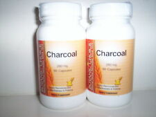 CHARCOAL 260mg ACTIVATED DIGESTION BLOATING GAS AID 120 CAPSULES 2 BOTTLES