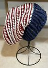 Veteran Made Handmade Patriotic Red White and Blue Slouchy Beanie tween to adult