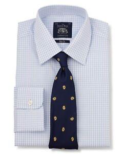Savile Row Company Blue White Poplin Graph Check Slim Fit Shirt - Single Cuff