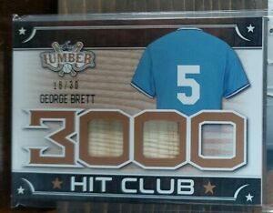 2021 LEAF LUMBER GEORGE BRETT 3000 HIT CLUB #18/30 DUAL BAT GAME USED RELICS