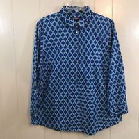 Lands' End Blue Green 100% Cotton Relaxed Fit 3/4 Sleeve Tunic Top Plus 14