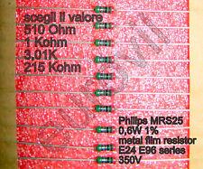 10 pezzi Resistenze Vishay PHILIPS MRS25 a scelta da 510 Ohm a 215 K Ohm 0.6W 1%