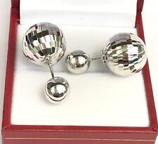 18k Solid White Gold Balls Reversible Italian Earrings, Diamond Cut 6.19 grams
