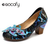 SOCOFY Women Genuine Leather Shoes Snakeskin Grain Floral Mid Heel Stylish Pumps