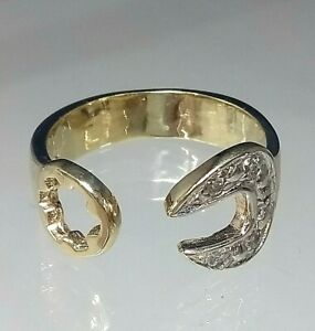 9ct Gold Spanner Gents Ring REAL GOLD size UVWXY  Diamond Simulants  *Fantastic*