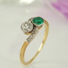Antiker feiner Ring 585 Gelbgold und Platin 1 Diamant circa 0,25 ct 1 Smaragd