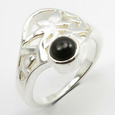 925 Solid Silver BLACK ONYX CELTIC Ring Size 7 Women Handmade Jewelry