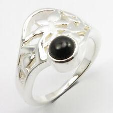925 Solide Argent Onyx Noir Bague Celtique Taille 7 Femme Fait à la Main Bijoux