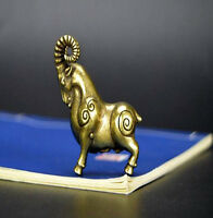 Chinese old antique handmade pure brass sheep Small pendant statue