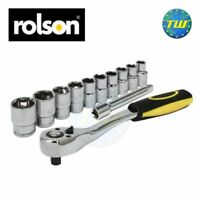 "Rolson Mechanics 1/2"" Drive Quick Release Ratchet & 10pc Workshop Socket Set"