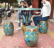 """36""""old beijing palace bronze gold Cloisonne 9 dragon table Desk foo dog 4 chairs"""