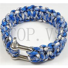 550 Paracord Parachute Cord Military Survival Bracelet Camping Metal shackle #3
