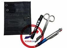 Nurse Pocket Organizer Kit Medical Penlight, Lister Bandage Scissor, Pen - Black
