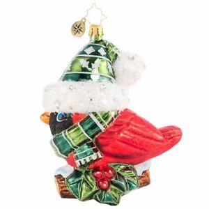 "Radko Bundled Up Feathered Friend 5"" Bird Ornament 1020604 New"