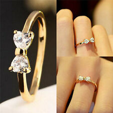 Gold Plated Finger Bow Ring Zircon Crystal Ring Wedding Engagement Ring Jewelry|