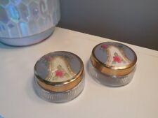 Pair Of Vintage Cloisonne Enamel & Glass Dresser Vanity Jars Trinket Gold Gilt