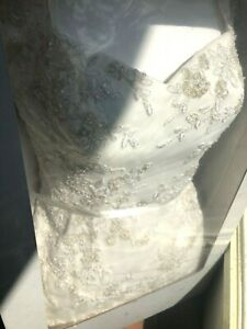 David's Bridal Stunning Ivory Lace Cap Sleeve Wedding Dress 10 MUST SEE!!!