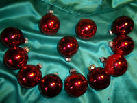 ~ 12 alte Christbaumkugeln Glas rot Christbaumschmuck Vintage Weihnachtskugeln ~