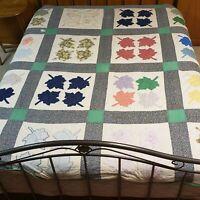 """Hand Made Applique Quilt Maple Leaf Design Machine & Hand Sewn 84"""" x 84"""" Vintage"""