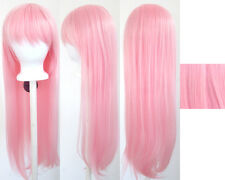 32'' Long Straight Long Bangs Cotton Candy Pink Cosplay Wig NEW