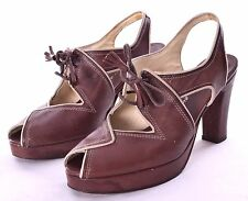 Re-Mix Deluxe Vintage Classics Kate Brown Leather Platform Heel Shoes Size 6.5