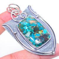 "Copper Azurite Gemstone Handmad 925 Silver Jewelry Pendant 2.52"" ARK-1314"