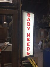 Antique Lighted Sign Baby Needs Drug Store Sign