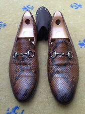 Gucci Mens Shoes Brown Leather Snakeskin Horsebit Loafers UK 11.5 US 12.5 45.5