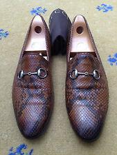 Scarpe da uomo Gucci Marrone In Pelle Pelle Di Serpente GUCCI Mocassini UK 11.5 US 12.5 45.5