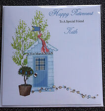HANDMADE PERSONALISED RETIREMENT CARD,MALE RETIREMENT SHED.OTHER OCCASIONS AVAIL