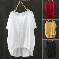 ZANZEA Women Batwing Sleeve Casual Asymmetrical Shirt Tops Irregular Hem Blouse