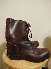 ALDO Burgundy Oxblood Leather Lace Up Back Zip Combat Boots Women's Size 6.5