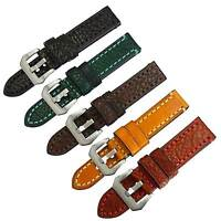 ZLIMSN Strap Men's Replacement Genuine Leather Watch Band Thick Pin Buckle