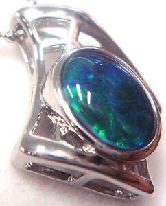 Australian Opal Natural Black Triplet Opal Pendant Solid Silver Anniversary