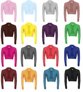 Womens Long Sleeve Knitted Metallic Lurex Shrug Ladies Bolero Cardigan Crop Top