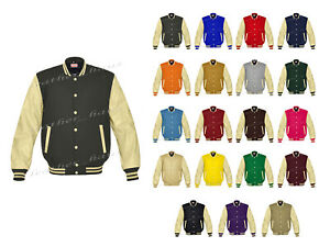 Original American Varsity Letterman College Baseball Genuine Leather Wool Jacket
